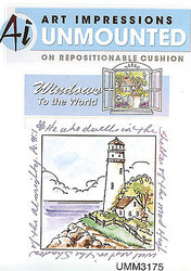 Windows To The World Cling Unmounted Rubber Stamp Art Impressions UMM3175 NEW