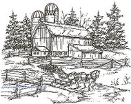 Winter Farm Sleigh Scene Wood Mounted Rubber Stamp Northwoods Rubber Stamp New