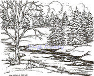 Winter Pines & Stream Scene Wood Mounted Rubber Stamp NORTHWOODS P9354 New