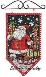 WINTER Santa Mini Banner Debbie Mumm Dimensions Cross Stitch Kit 72-74136 NEW