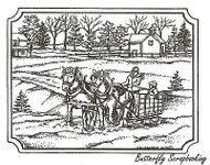 Winter Sleigh In Rectangle, Wood Mounted Rubber Stamp NORTHWOODS - NEW, P9630