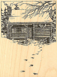 Winter Snow Mountain Cabin Wood Mounted Rubber Stamp Impression Obsession NEW