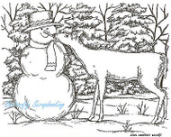 Winter Snowman & Deer Pine Trees Wood Mounted Rubber Stamp NORTHWOODS P7739 NEW