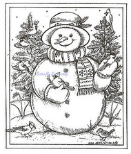 Winter Snowman Birds & Spruce, Wood Mounted Rubber Stamp NORTHWOODS - NEW, P9304