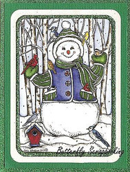 WINTER SNOWMAN BIRDS Birch Scene Wood Mounted Rubber Stamp NORTHWOODS P9862 New