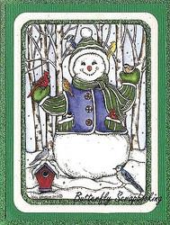 WINTER SNOWMAN BIRDS Birch Scene Wood Mounted Rubber Stamp NORTHWOODS P9862 New