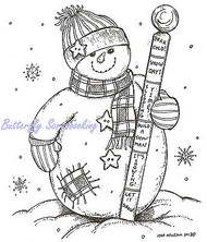 Winter Snowman with Thermometer Wood Mounted Rubber Stamp NORTHWOODS P9323 New