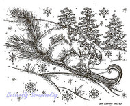 Winter Tobogganing Squirrels Wood Mounted Rubber Stamp NORTHWOODS P9248 New