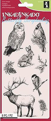 WINTER WILDLIFE Set Clear Unmounted Rubber Stamp Set 8 Stamps INKADINKADO NEW