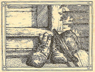 Worn Shoes And Hat, Wood Mounted Rubber Stamp IMPRESSION OBSESSION - NEW, H1861