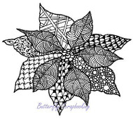 Zentangle Christmas Poinsettia Cling Unmounted Rubber Stamp MAGENTA C44012-L NEW