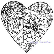 ZENTANGLE HEART Stamp Cling Unmounted Rubber Stamp MAGENTA C44014-N NEW