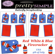 4th of JULY USA PREMADE 12X12 Scrapbooking 2 PAGE LAYOUT New Just Add Photos