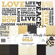 A TOUCH OF GOLD Collection 12X12 Scrapbooking Kit Kaisercraft Paper Crafts NEW