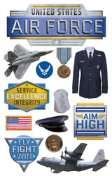 AIR FORCE United States Military 3D Stickers Scrapbooking Paper House STDM NEW