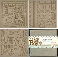 ALL BOY 8x8 Chip Board Album Box Set  FANCY PANTS New