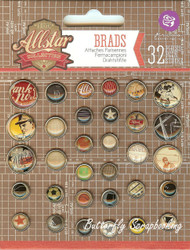 Allstar Collection Scrapbooking Brads PRIMA MARKETING INC., 32 pieces - 569631