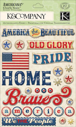 Americana Home Of The Brave Clearly Yours Epoxy Scrapbook Stickers K&Company NEW