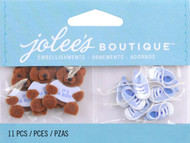 Baby Boy Bear And Booties EK SUCCESS Non-Adhesive Embellishments NEW 11 Pieces