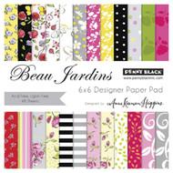 Beau Jardin, 6''x6'' Designer Paper Pad (48 Sheets) PENNY BLACK - NEW, 80-011