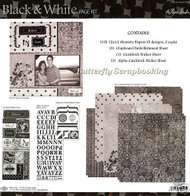 BLACK & WHITE 12X12 Scrapbooking Kit Paper Studio NEW