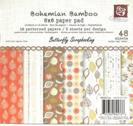 Bohemian Bamboo Collection Scrapbooking 6x6 inch Paper Pad PRIMA 48 Sheets NEW