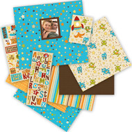 Boy Teal Blue & Brown Stars 12x12 Scrapbooking Album Kit 76 pieces K&Company New