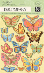 BUTTERFLY  3D Scrapbook Stickers K&Company NEW