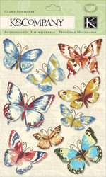 BUTTERFLY Butterflies Watercolor 3D Scrapbook Stickers K&Company NEW