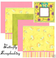 BUTTERFLY FABRIC ART 12X12 Scrapbooking Kit K&Company New