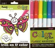 Butterfly Fuzzy Iron On Art & Fabric Markers Kids Craft Kit by SEI New