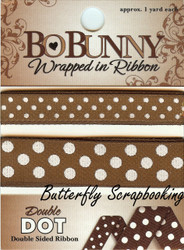 Chocolate Double Dot Ribbon BOBUNNY Scrapbooking Embellishments, NEW - WRCH102