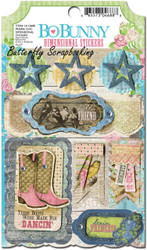 Cowgirl Prairie Chic 3D Scrapbook Stickers Bo Bunny BoBunny NEW