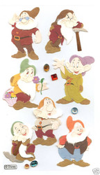 DISNEY Snowwhite 7 Dwarves 3D Stickers by EK Success New