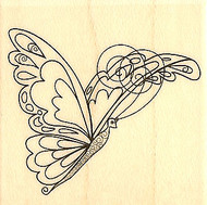 Fancy Swirly BUTTERFLY Wood Mounted Rubber Stamp Stampabilities NEW