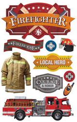 FIREFIGHTER FIRE TRUCK HERO 3D Stickers Scrapbooking Paper House STDM-0212 NEW