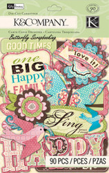 Kelly Panacci Blossom Birds & Words 90 pcs Scrapbook Die Cuts K&Company NEW