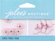 Pink Daisies And Butterflies EK SUCCESS Non-Adhesive Embellishments NEW 9 Pieces