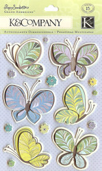 POPPY SEED Butterflies Scrapbook Stickers K&Company NEW