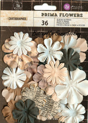 Prima Flowers 36 Flowers Cartographer Collection Scrapbooking Prima Inc.NEW