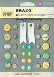 Scrapbooking Brads FREE SPIRIT Collection Prima Marketing Inc. 30 pc 572754 New