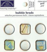 Scrapbooking Bubble Brads Golf Sports Karen Foster Design 6 pieces New
