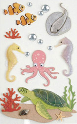 Sea Creatures, Scrapbooking Dimensional Stickers by LITTLE B, NEW - 100321