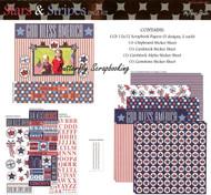 Stars & Stripes USA July 4 12X12 Scrapbooking Kit The Paper Studio Memories NEW