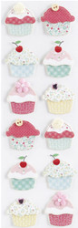 Stitched Cupcakes & Buttons 3D Scrapbook Stickers Martha Stewart Crafts NEW