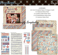 USA July 4th FREEDOM 12X12 Scrapbooking Kit Page Kit by Paper Studio 233619 New