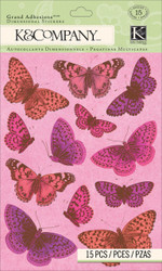 Valentines Day Glitter Butterfly Smitten 3D Scrapbook Stickers K&Company NEW