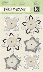 Wedding Elegance Flowers Fab 3D Scrapbook Stickers Grand Adhesions K&Company NEW