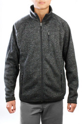 S172 Men's Mid-Weight Heather Flat Knit Comfy Fleece Full Zip Jacket