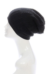 H1029 Knit Slouchy Beanie Hat Mid-Weight Double Layer Reversible